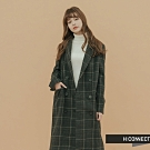 【周慶限量款】H:CONNECT 韓國品牌 女裝-格紋毛呢長版大衣-黑
