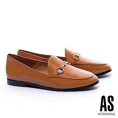 低跟鞋 AS 經典潮流金屬馬銜釦漆皮樂福低跟鞋-咖