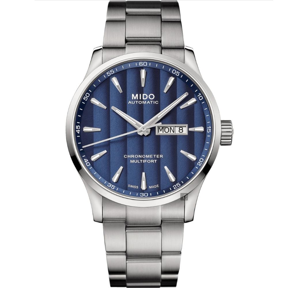 MIDO 美度 Multifort 先鋒系列80小時天文台矽游絲機械錶-銀/42mm M0384311104100