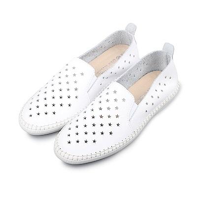 BuyGlasses 星星洞洞真皮懶人鞋-白