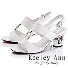 Keeley Ann雅緻低調~水鑽圓形飾釦漆皮質感粗跟涼鞋(白色-Ann系列)