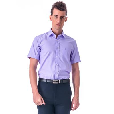 金‧安德森 紫色白細紋窄版短袖襯衫fast