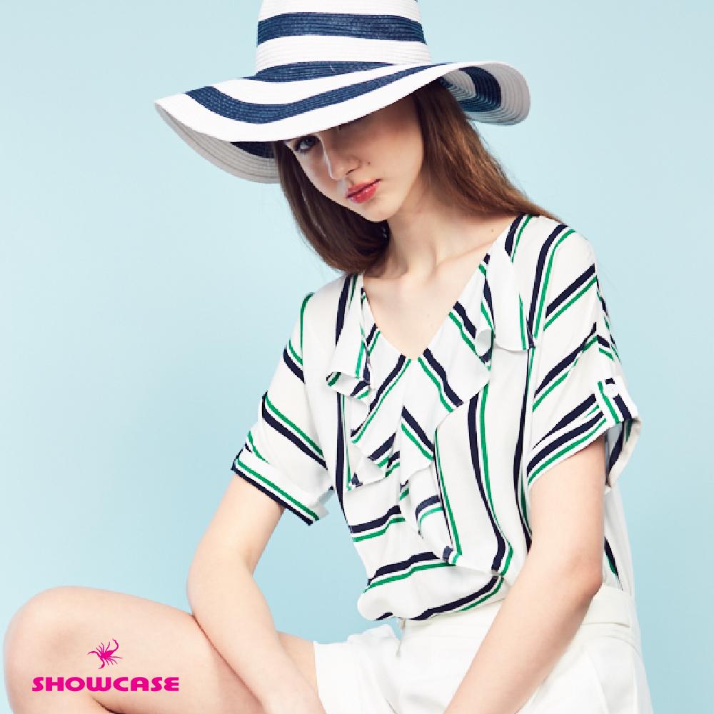 【SHOWCASE】雙色條紋V領袖褶雪紡上衣(白)