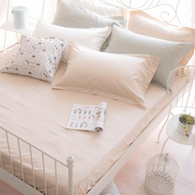 OLIVIA  TWINS 米X米白 標準單人床包歐式枕套兩件組 MOC莫代爾棉 台灣製