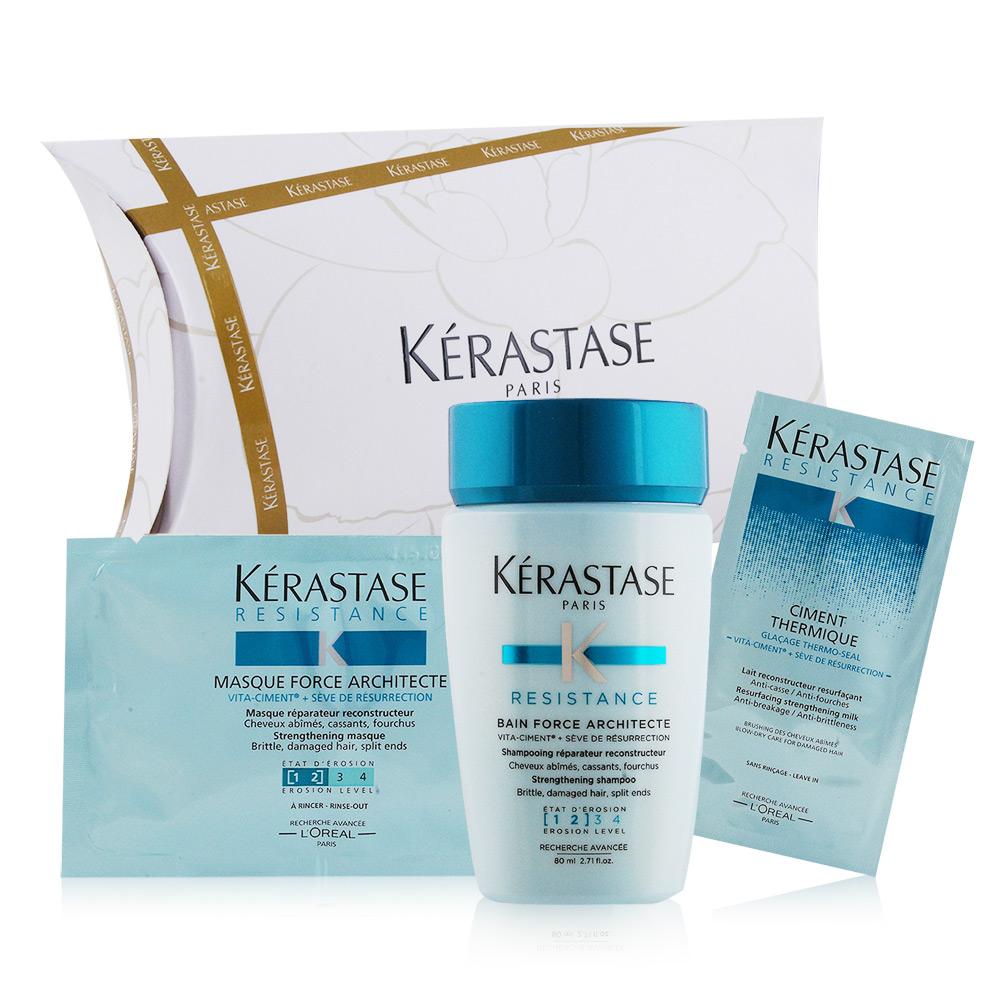 (即期品)KERASTASE 煥髮重建3步驟隨行組[髮浴+髮膜+精華]-期效201911