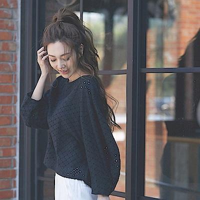 IREAL 微透肌鏤空蕾絲拋袖上衣