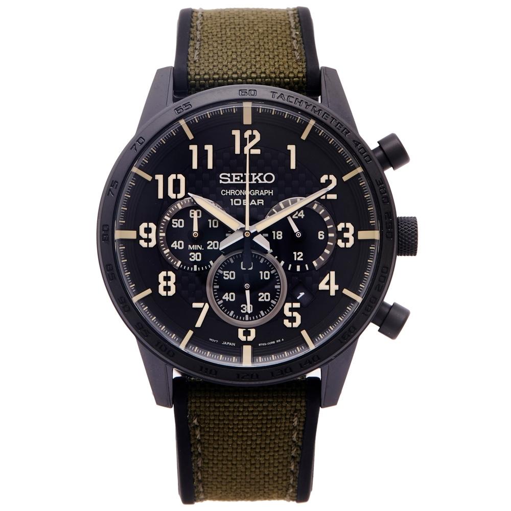SEIKO 時尚三眼計時橡膠與帆布帶材質錶帶手錶(SSB369P1)-黑色面/44mm