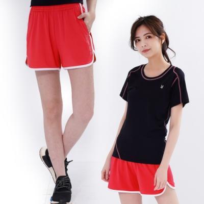 【遊遍天下】女款彈性吸排防曬慢跑運動機能短褲GP1012桔紅