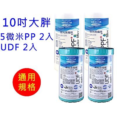 怡康 10吋大胖標準5微米PP濾心2支+10吋大胖標準UDF椰殼活性碳濾心2支