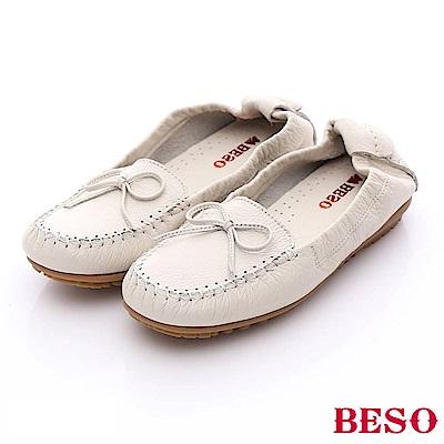 BESO 簡約知性 柔軟牛皮蝴蝶結樂福便鞋~白