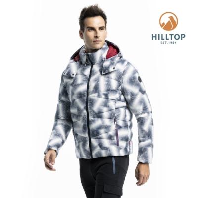 【hilltop山頂鳥】男款印花超潑水保暖蓄熱羽絨短大衣F22MZ9黑