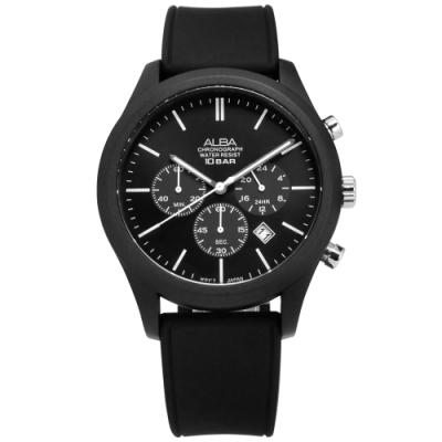 ALBA 礦石強化玻璃 三眼計時 日期 防水100米 矽膠手錶-黑色/44mm