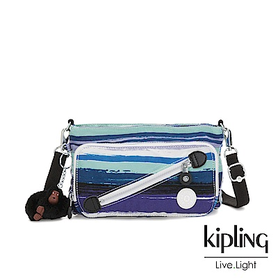 Kipling 蔚藍海岸線條塗鴉斜拉鍊肩背包-MILOS