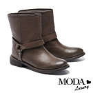 短靴 MODA Luxury 仿舊漸層刷色質感釦帶裝飾低跟短靴-咖
