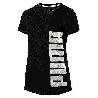 PUMA-女性基本系列ATHLETIC短袖T恤-黑色-亞規