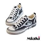 Miaki-帆布鞋街頭時尚加厚餅乾鞋-黑