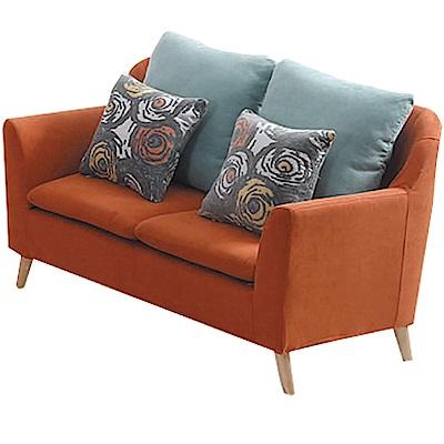 品家居 瑞典時尚紅絲絨布二人座沙發椅-138x76x88cm免組