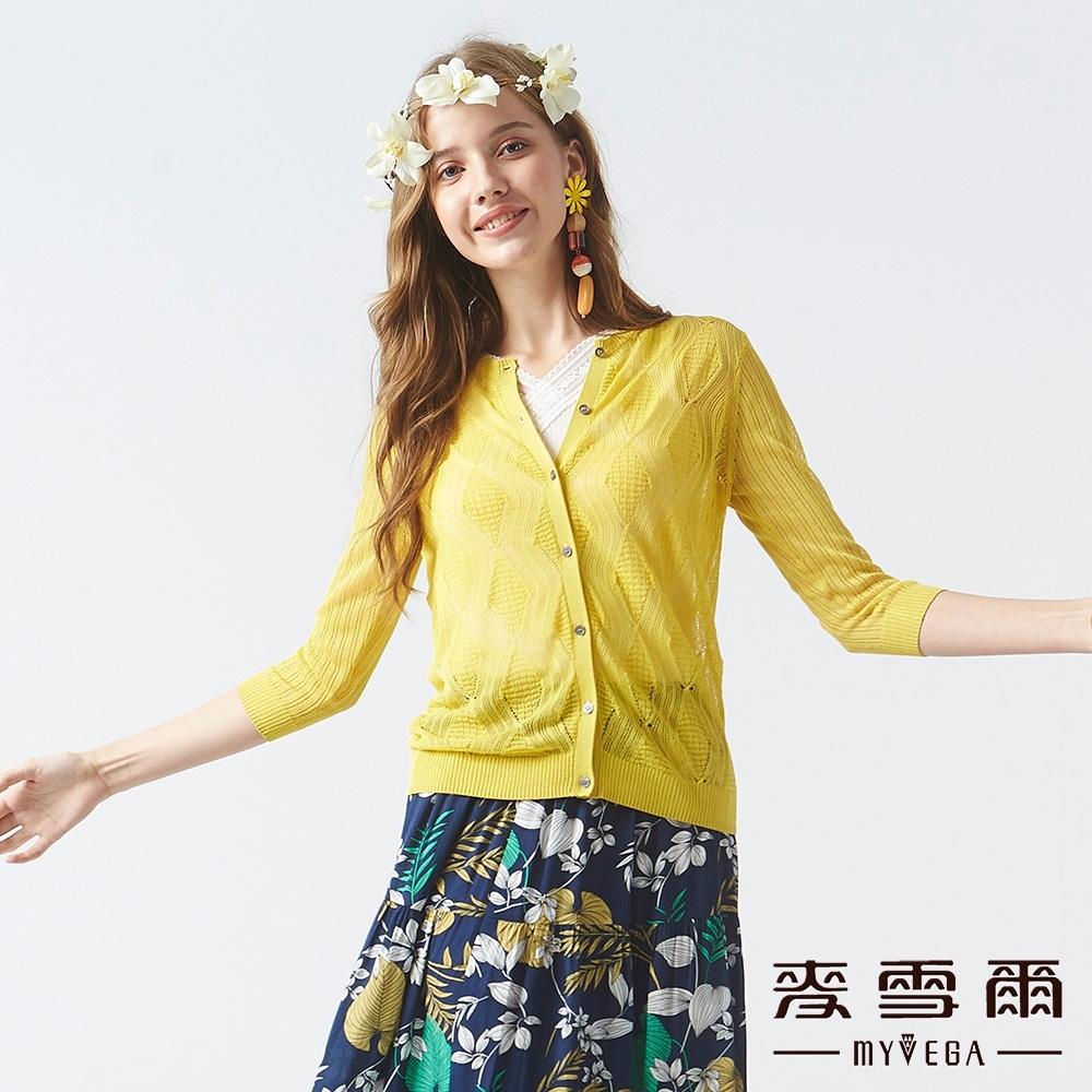 MYVEGA麥雪爾 微金蔥菱格紋路透膚針織罩衫-黃