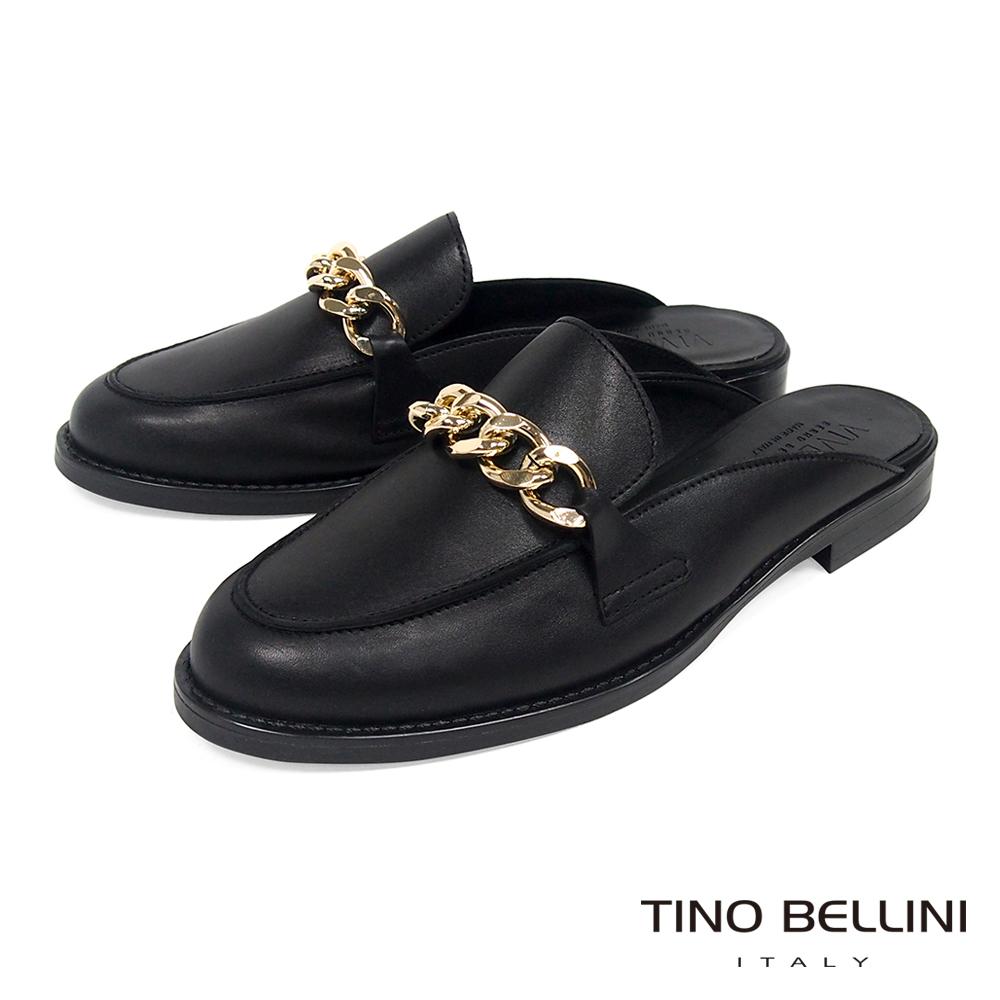 Tino Bellini 義大利進口環型鍊釦樂福MIX微跟穆樂鞋 _ 黑