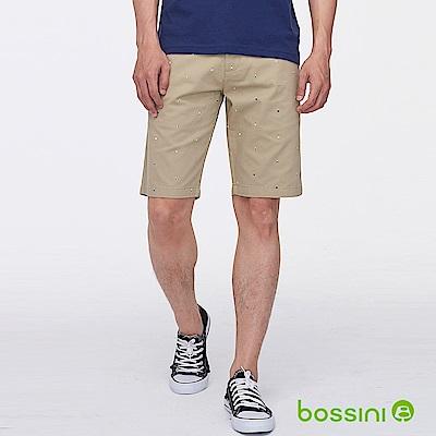 bossini男裝-印花時尚短褲01卡其
