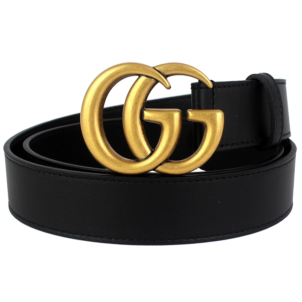 GUCCI 復古雙G扣頭黑色真皮皮帶(75cm)