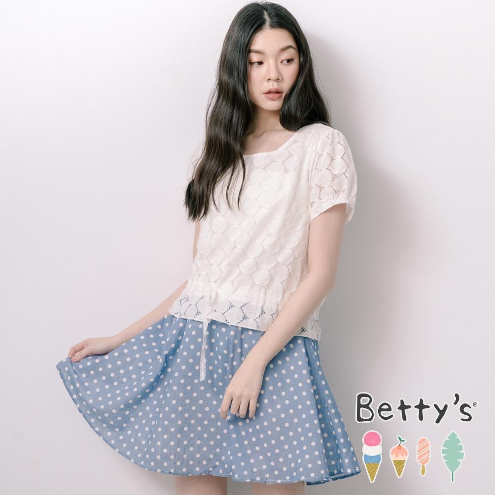 betty's貝蒂思 公主風蕾絲拼接點點洋裝(淺藍)