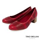 Tino Bellini巴西進口典雅雕花舒足中跟鞋_紅