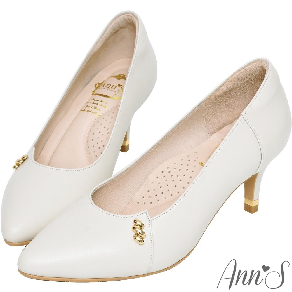 Ann'S有時候有時候-相思金豆全真皮小羊皮尖頭跟鞋-米白