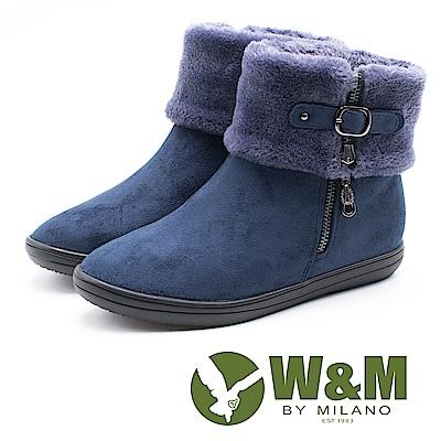 W&M 經典毛絨反摺造型拉鍊式中筒 女靴-藍(另有黑)