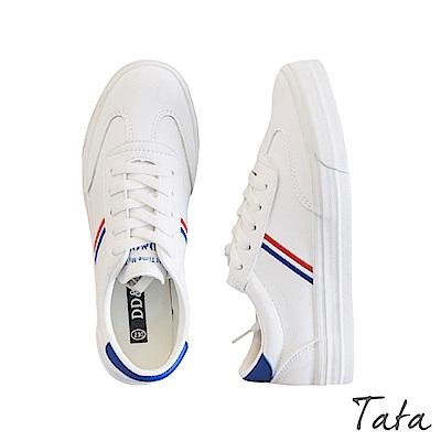 側邊紅藍條紋小白鞋 TATA