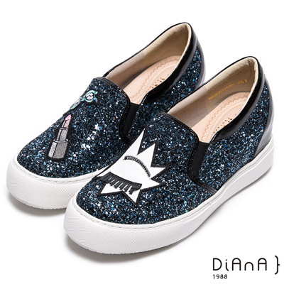 DIANA 閃耀魅力—銀河系耀眼碎鑽童趣圖案楔型增高鞋-藍