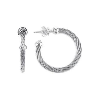 CHARRIOL 夏利豪 CELTIC EARRINGS系列 經典波浪鋼索耳環 銀色(0312112401)
