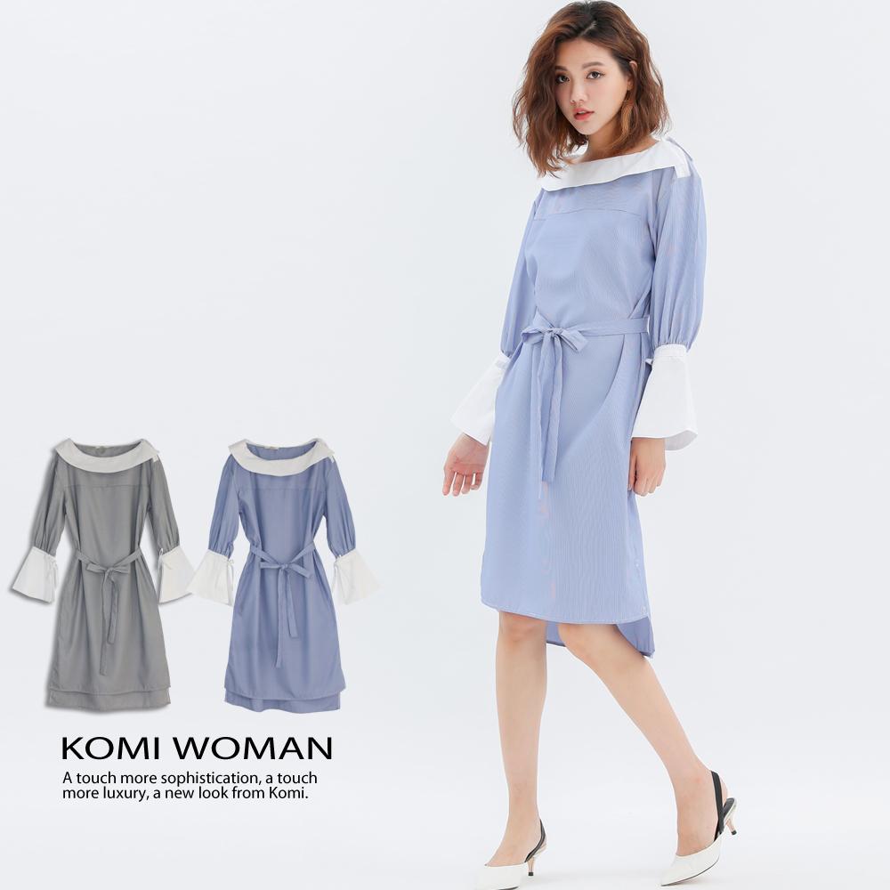 【KOMI】法式翻領條紋洋裝‧附腰帶-二色