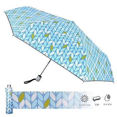 2mm 100%遮光 采漾印花黑膠降溫自動開收傘(葉子)