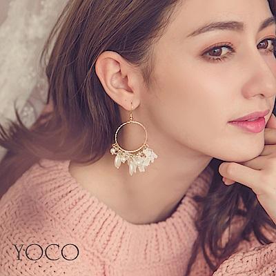 東京著衣-yoco 秋冬花語復古金屬圓環珍珠耳環(共一色)