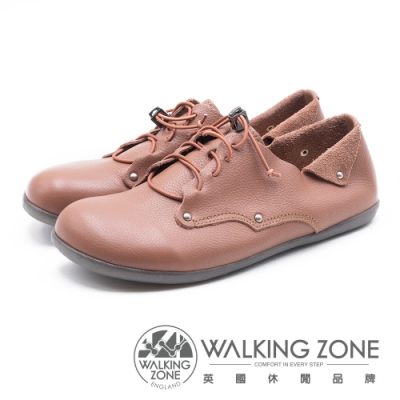 WALKING ZONE 超柔軟牛皮綁帶休閒鞋 女鞋-可可色(另有黑)