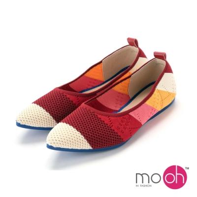 mo.oh-針織透氣柔軟尖頭平底鞋-彩色