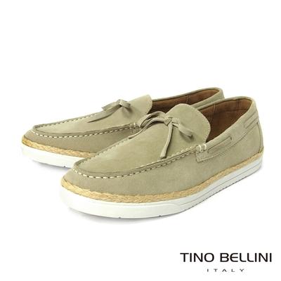 TINO BELLINI 男款 牛皮草編拼接休閒帆船鞋-米