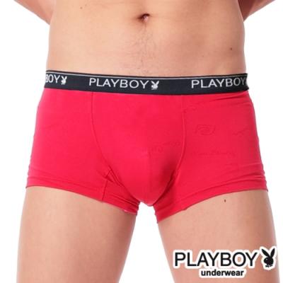 PLAYBOY MIT超細纖維萊卡提花平口褲 四角褲-單件(紅)