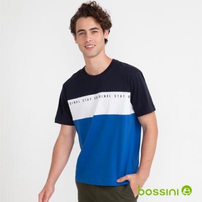bossini男裝-寬版T恤02藍黑