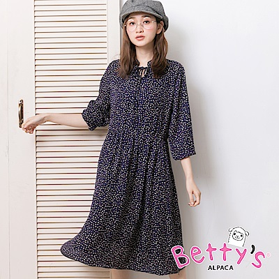 betty's貝蒂思 滿版印花綁結雪紡洋裝(深藍)
