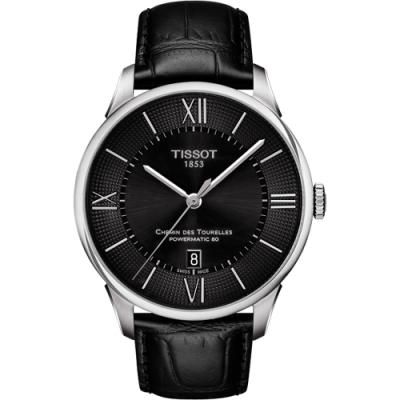TISSOT 杜魯爾系列機械動力80皮帶腕錶-黑/42mm