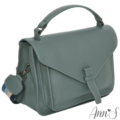 Ann'S寬版條紋背帶多way真牛皮復古醫生包-藍