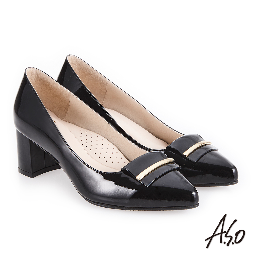 A.S.O 義式簡約 嚴選鏡面簡約飾釦高跟鞋 黑