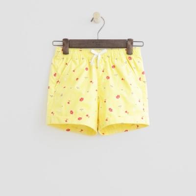 Hang Ten -童裝 - 綁帶造型logo滿版短褲 - 黃