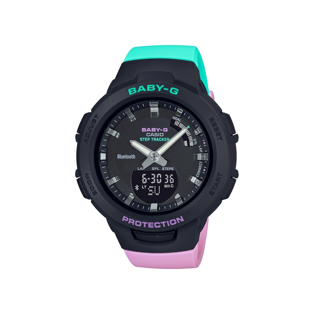CASIO卡西歐 BABY-G 藍牙 紫x綠撞色錶帶 運動系列 BSA-B100MT-1A_41.4mm