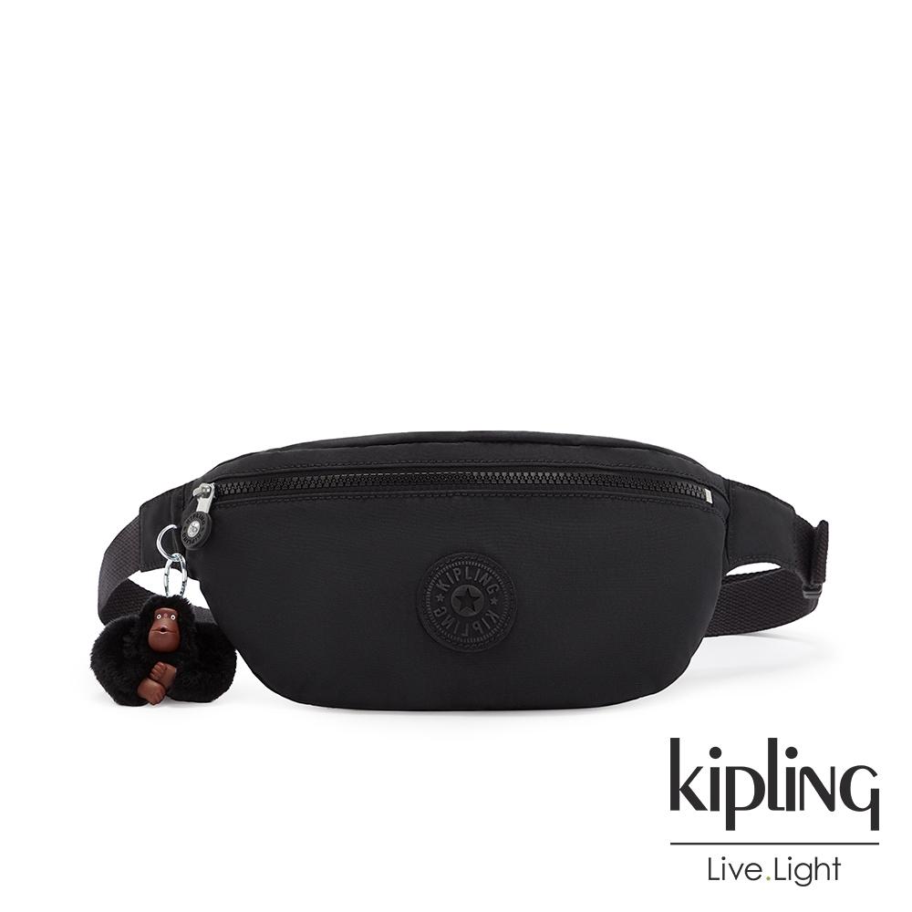 Kipling 質感黑簡約拉鍊腰包-PRIA