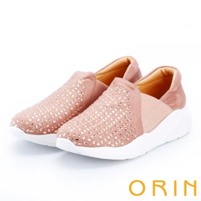 ORIN 時尚渡假風 水晶麂布厚底休閒便鞋-粉紅