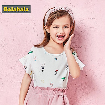Balabala巴拉巴拉-芭蕾小圖案俏皮印花短袖T恤-女(2色)
