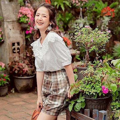 iMODA STAR-高含棉優雅蕾絲領五分袖襯衫上衣